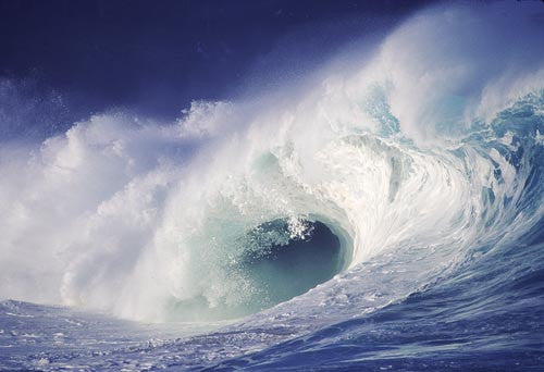 Breaking wave on north shore of Oahu, Hawaii Photo Stock Photo