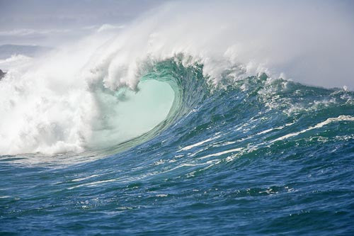 Large winter waves breaking at Waimea on Oahu, Hawaii