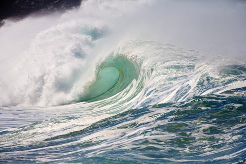 Large winter waves breaking at Waimea on Oahu, Hawaii Picture