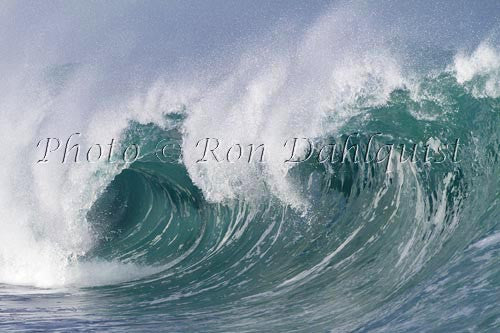 Close-up of wave breaking on the north shore of Oahu, Hawaii Stock Photo Print