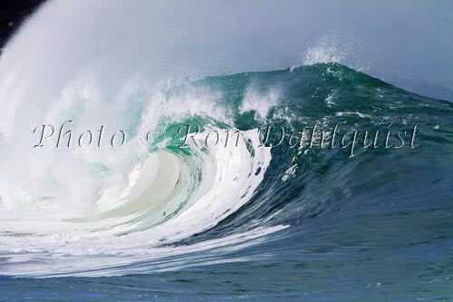Close-up of wave breaking on the north shore of Oahu, Hawaii Picture Stock Photo Print