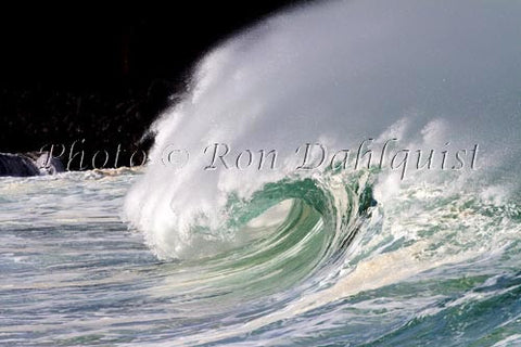 Close-up of wave breaking on the north shore of Oahu, Hawaii Picture Photo Stock Photo