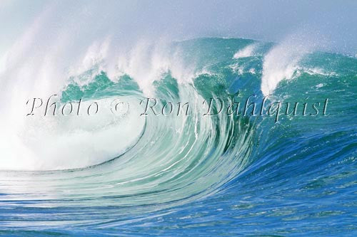 Close-up of wave breaking on the north shore of Oahu, Hawaii Picture