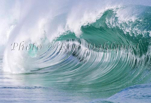 Close-up of wave breaking on the north shore of Oahu, Hawaii Stock Photo