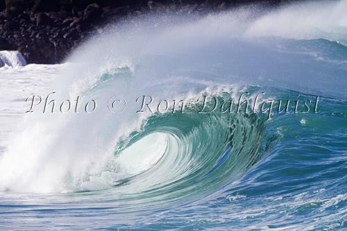 Close-up of wave breaking on the north shore of Oahu, Hawaii Picture Stock Photo