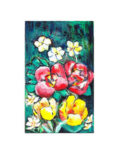 "Load image into Gallery viewer, Daffodils, Begonias & Tulips, 5x8"" Acrylic Painting - Original Art by Andrea Smith"