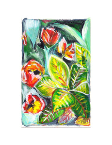 "Tulips & Crotons, 5x8"" Acrylic Painting - Original Art by Andrea Smith"