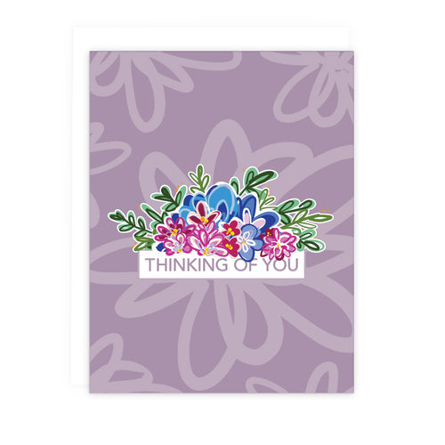 Purple Floral Thinking of You Note Card | Luxe Stationery & Greeting Cards by 7th & Palm