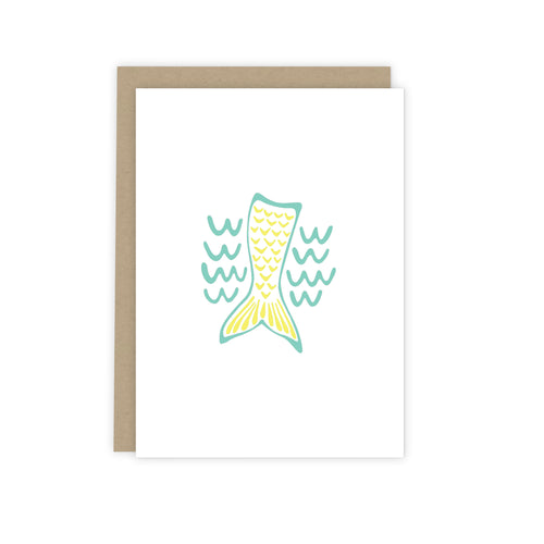 Mint Green & Yellow Mermaid Note Card | Luxe Stationery & Greeting Cards by 7th & Palm