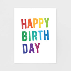 Rainbow Block Print Birthday Card - Greetings Cards & Stationery by 7th & Palm
