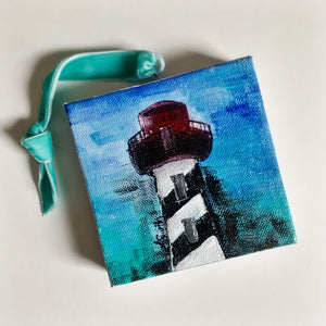 St. Augustine Lighthouse Ornament on Canvas - Coastal Decor by Artist Andrea Smith | 7th & Palm