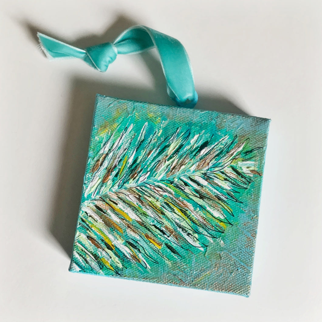 Palm Frond Ornament on Canvas - Coastal Decor by Artist Andrea Smith | 7th & Palm
