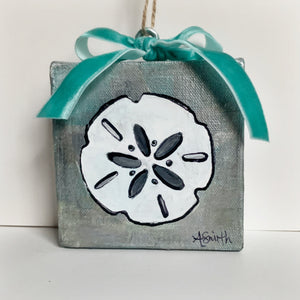 Sand Dollar Ornament on Canvas - Coastal Decor by Artist Andrea Smith | 7th & Palm