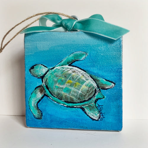 Sea Turtle Ornament on Canvas - Coastal Decor by Artist Andrea Smith | 7th & Palm
