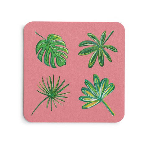 Pink Palms Coaster Set - Coastal Home Decor by 7th & Palm