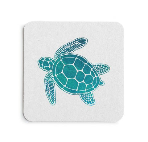 Sea Turtle Coaster Set - Coastal Home Decor by 7th & Palm