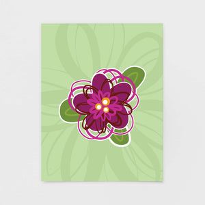Green Floral Note Card - Greeting Cards & Stationery by 7th & Palm