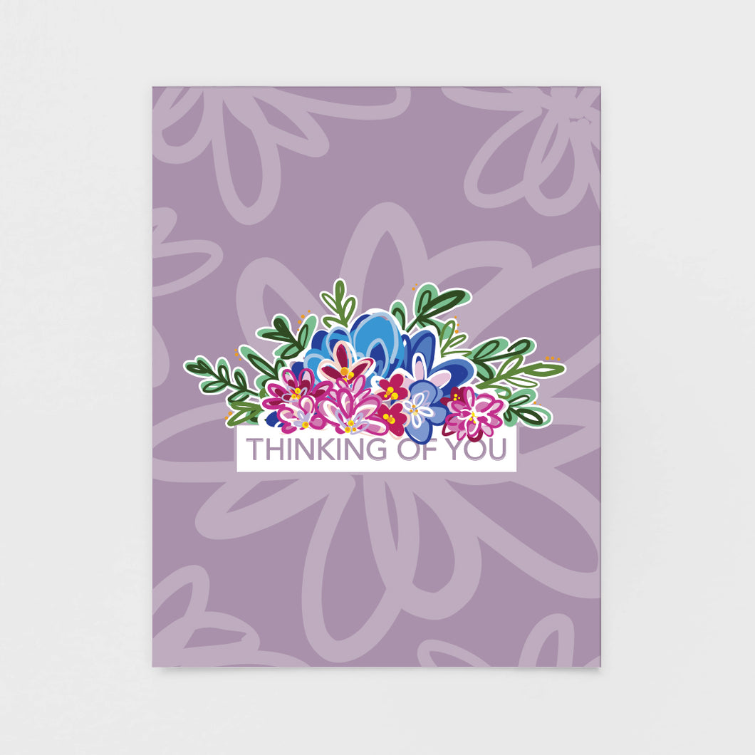 Purple Floral Thinking of You Note Card - Greeting Cards by 7th & Palm