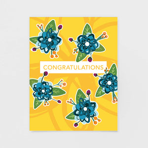 Yellow Floral Congratulations Note Card - Greeting Cards by 7th & Palm