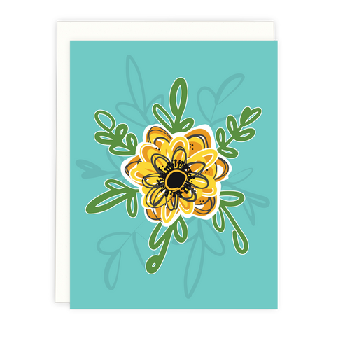 Teal Floral Note Card