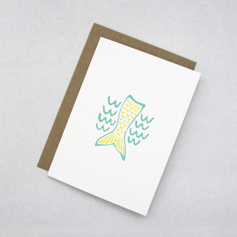 Mint Green & Yellow Mermaid Note Card by 7th & Palm