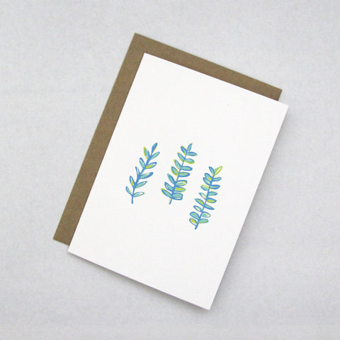 Blue Seaweed Note Card from 7th & Palm - Coastal & Nautical Stationery