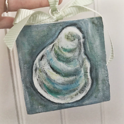 Oyster Shell Canvas Ornament - Coastal Home Decor by 7th & Palm