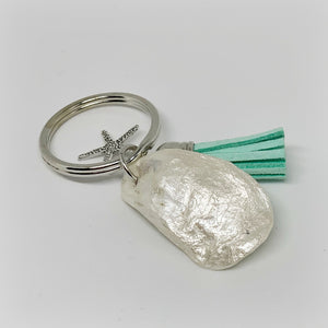 Oyster Shell Keychain with Teal Leather Tassel & Sea Star Charm