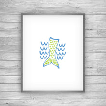 Load image into Gallery viewer, Blue and Green Mermaid Art Print by 7th & Palm