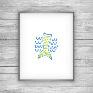 Blue and Green Mermaid Art Print by 7th & Palm