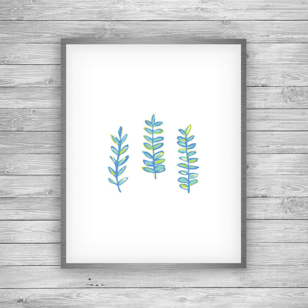 Blue Seaweed Art Print by 7th & Palm