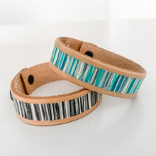 Load image into Gallery viewer, Cabana Stripe Handpainted Leather Bracelet 10