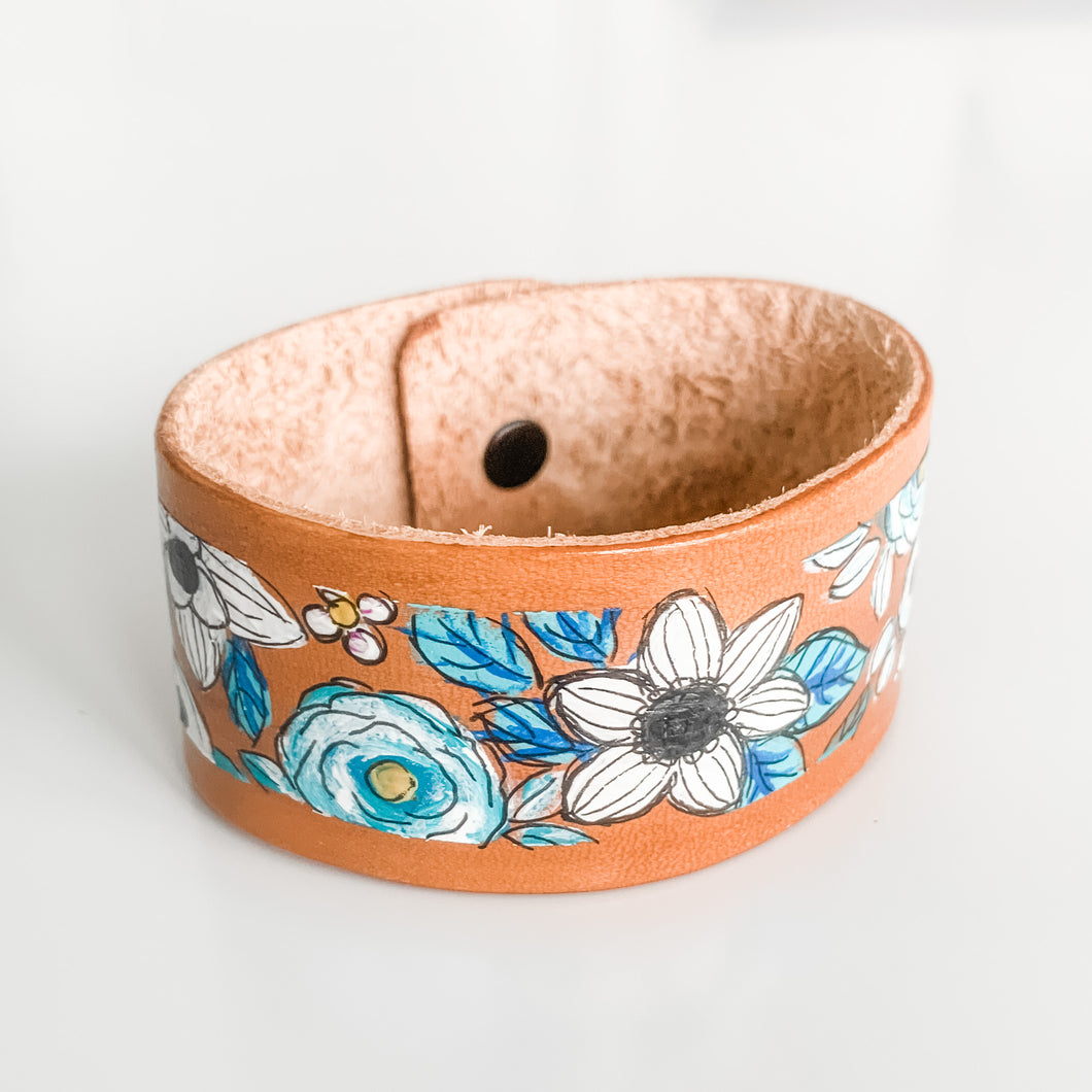 Floral Handpainted Leather Cuff