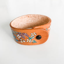 Load image into Gallery viewer, Floral Handpainted Leather Cuff
