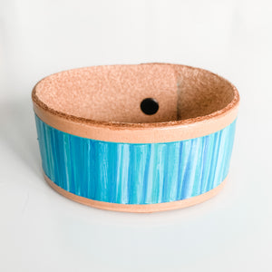 Cabana Stripe Handpainted Leather Cuff 2