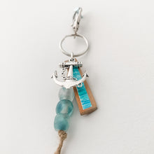Load image into Gallery viewer, Cabana Stripe Handpainted Leather Keychain with Bag Clip 6