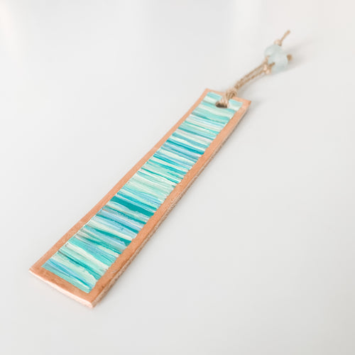 Cabana Stripe Handpainted Leather Bookmark 1