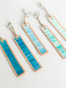 Cabana Stripe Handpainted Leather Bookmark 2