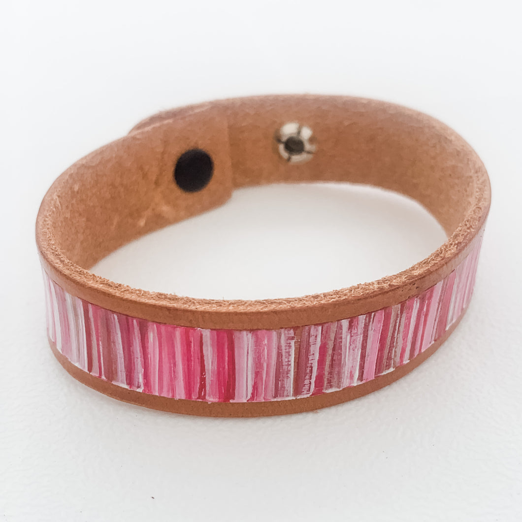 Cabana Stripe Handpainted Leather Bracelet 11