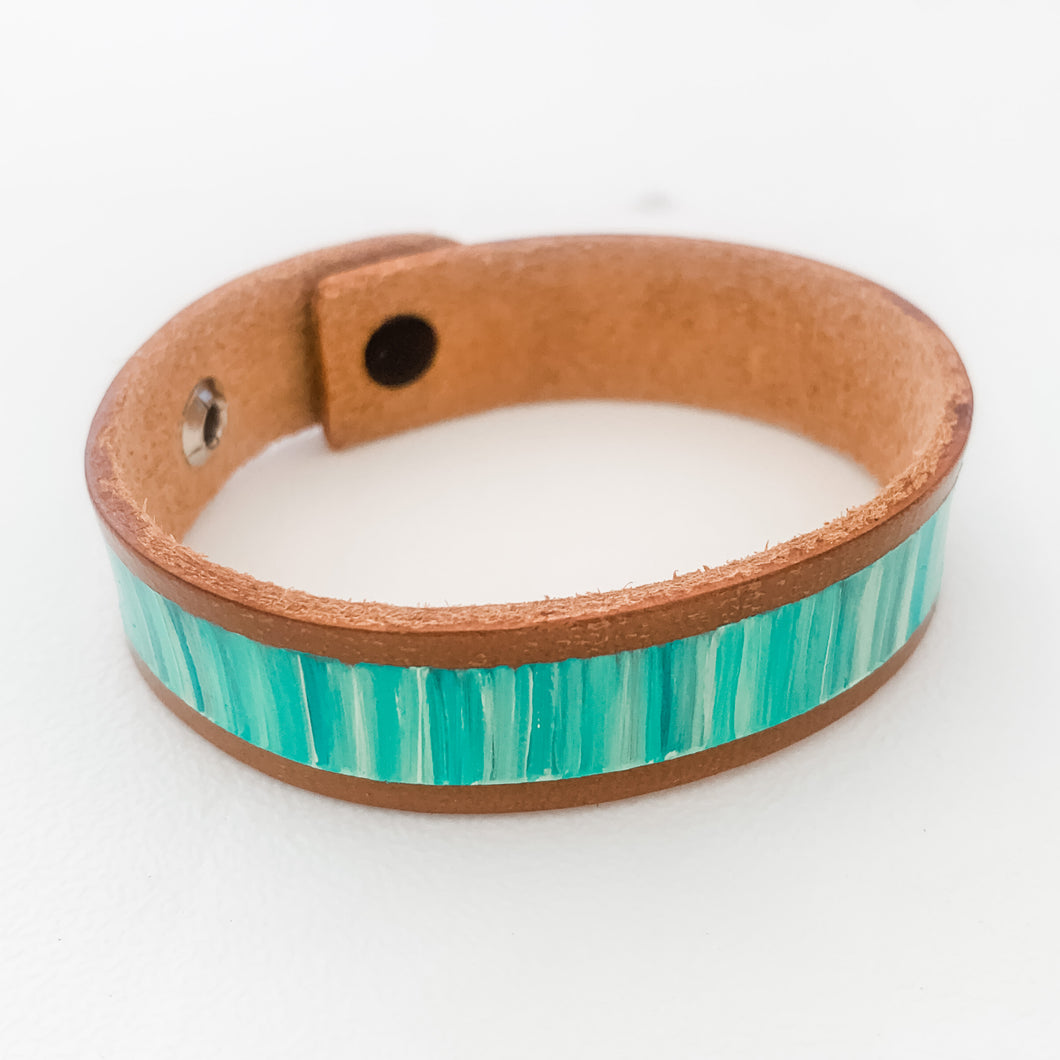 Cabana Stripe Handpainted Leather Bracelet 17