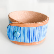 Load image into Gallery viewer, Cabana Stripe Handpainted Leather Cuff 5