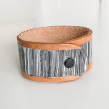 Load image into Gallery viewer, Cabana Stripe Handpainted Leather Cuff 1
