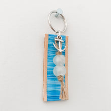Load image into Gallery viewer, Cabana Stripe Handpainted Leather Keychain 13