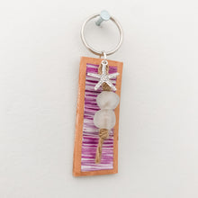 Load image into Gallery viewer, Cabana Stripe Handpainted Leather Keychain 17