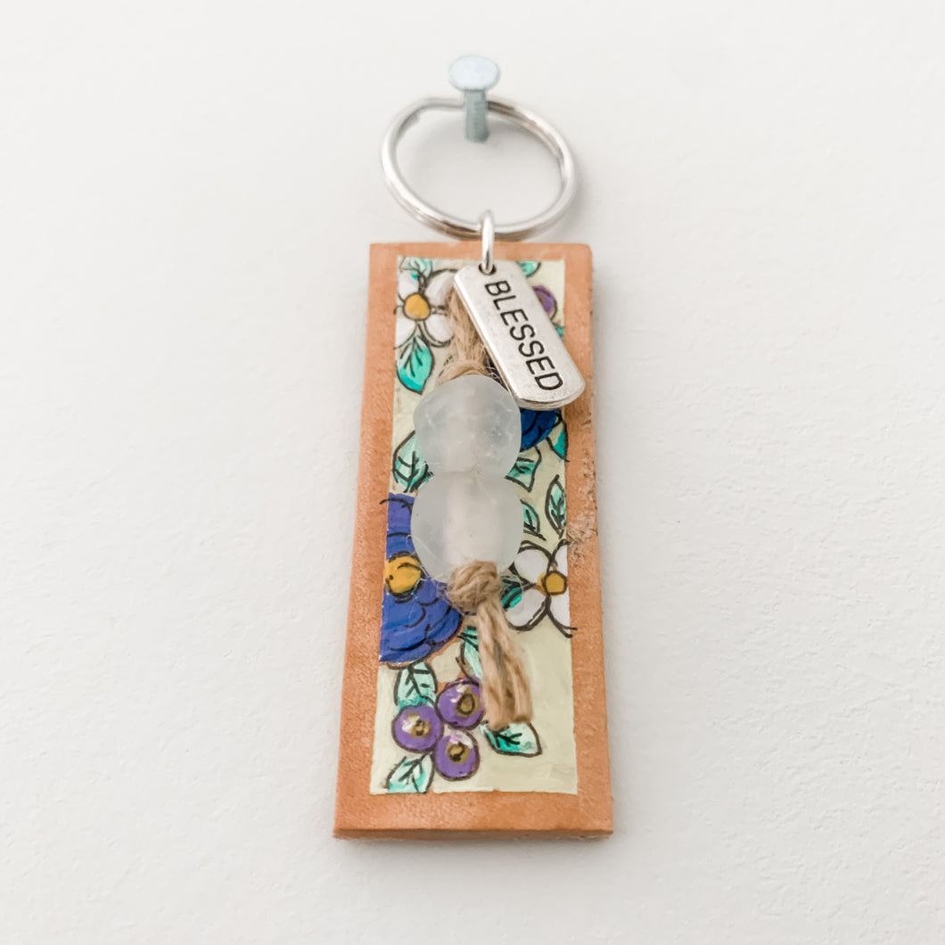 Floral Handpainted Leather Keychain