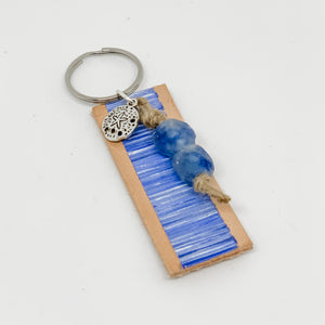 Cabana Stripe Handpainted Leather Keychain 44