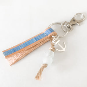 Cabana Stripe Handpainted Leather Keychain with Bag Clip 14