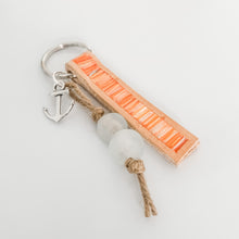 Load image into Gallery viewer, Cabana Stripe Handpainted Leather Keychain with Bag Clip 8