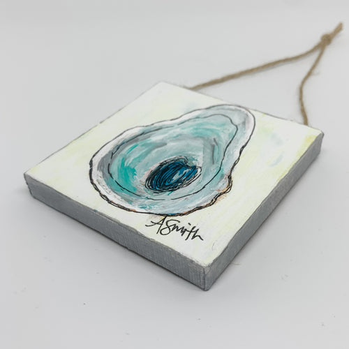 Oyster Shell Mini Canvas Ornament 1