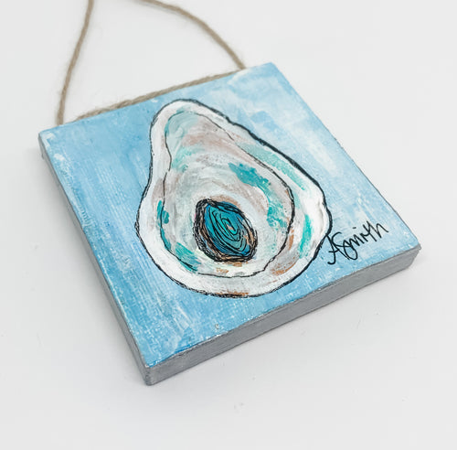 Oyster Shell Mini Canvas Ornament 2